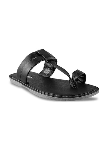 Metro Men Black Leather Sandals at myntra