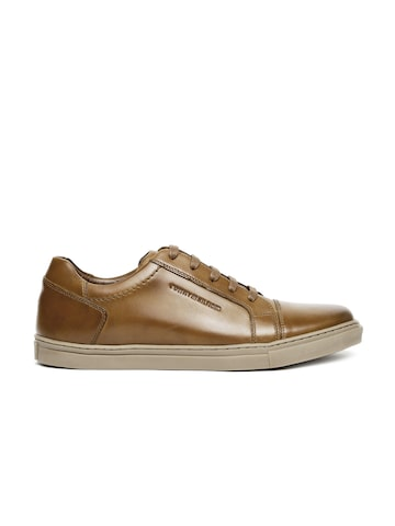 Tommy Hilfiger Men Brown Solid Leather Sneakers at myntra