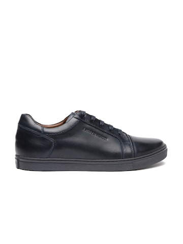 Tommy Hilfiger Men Navy Blue Leather Sneakers at myntra