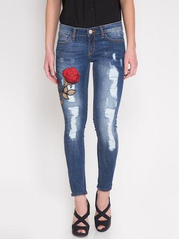 Tokyo Talkies Women Blue Super Skinny Fit Low Rise Mildly Distressed Jeans at myntra