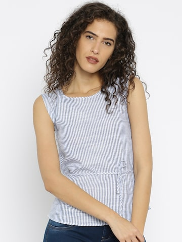 Flying Machine Off-White & Blue Striped Top at myntra