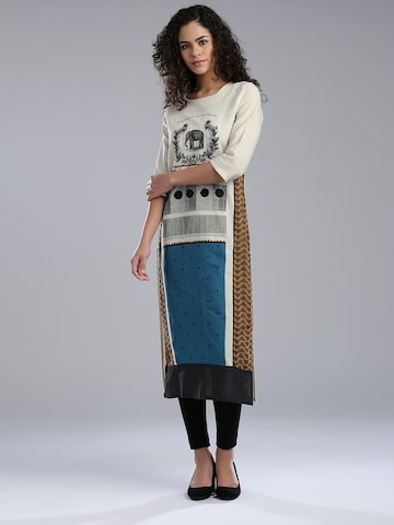 W Women Cream-Coloured Printed Panelled Straight Kurta at myntra