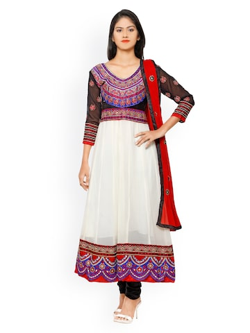 Florence White & Black Embroidered Chiffon Unstitched Dress Material at myntra