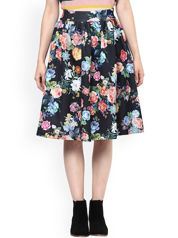 Harpa Black Floral Print Flared Skirt at myntra