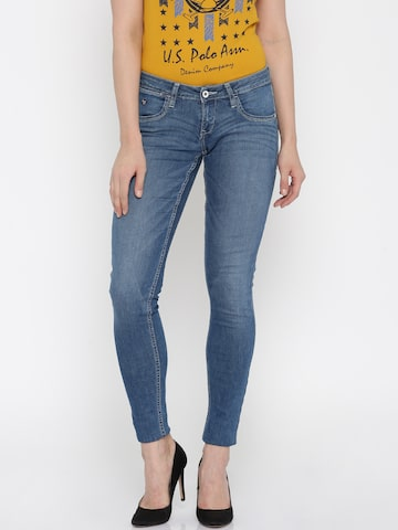 U.S. Polo Assn. Women Blue Skinny Fit Mid-Rise Jeans at myntra