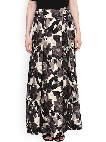 Harpa Beige & Grey Floral Print Maxi Skirt at myntra
