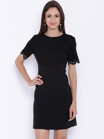 Avirate Women Black Lace Sheath Dress at myntra