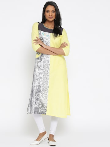 AURELIA Women Yellow & White Printed Straight Kurta at myntra