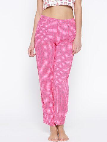 SDL by Sweet Dreams Pink & White Printed Pyjamas F-LLP-006 at myntra