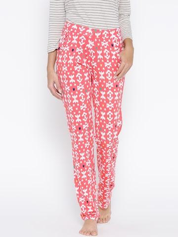 SDL by Sweet Dreams Coral Pink Printed Pyjamas F-LLP-611 at myntra