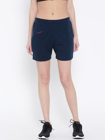SDL by Sweet Dreams Women Navy Solid Slim Fit Sports Shorts at myntra