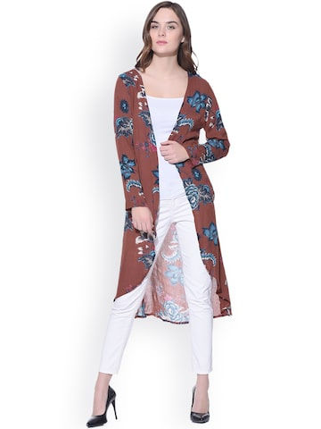 PURYS Brown & Blue Longline Floral Print Shrug at myntra