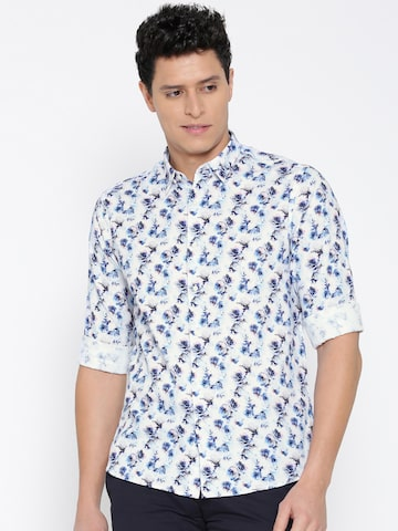 Blackberrys Men White Slim Fit Printed Casual Shirt at myntra