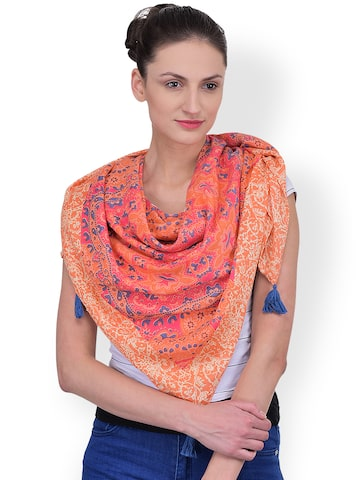 Citypret Orange Printed Stole at myntra