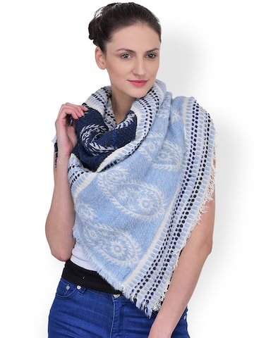 Citypret Blue & White Printed Stole at myntra