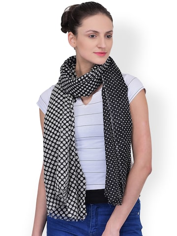 Citypret Black & White Printed Stole at myntra