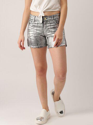 DressBerry Women Silver-Toned Shimmery Denim Shorts at myntra