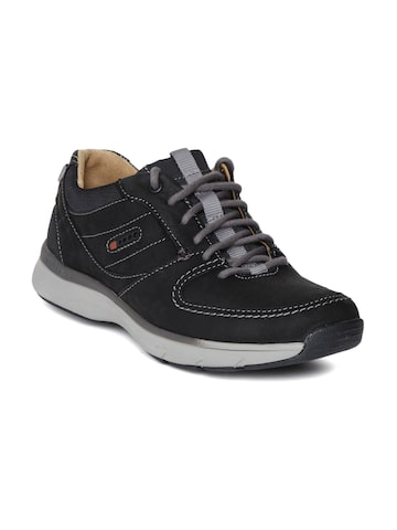 Clarks Men Black Nubuck Leather Sneakers at myntra