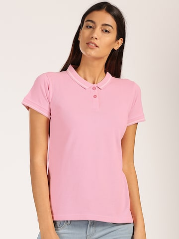Harvard Women Pink Solid Polo Collar T-shirt at myntra
