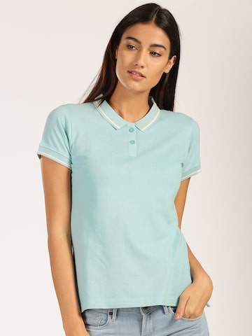 Harvard Women Blue Solid Polo Collar T-shirt at myntra