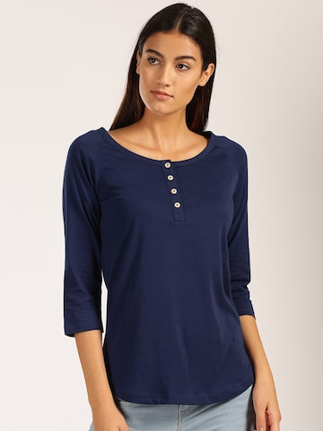 Harvard Women Navy Blue Solid Round Neck T-shirt at myntra