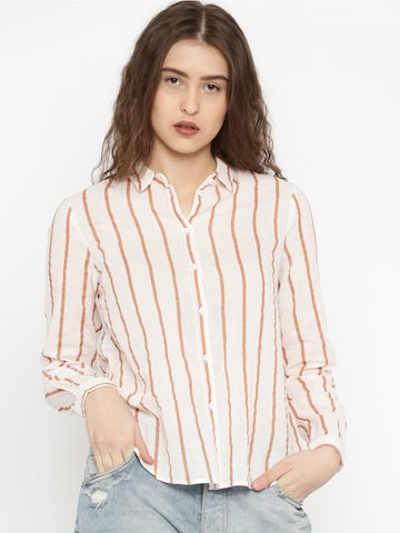 Vero Moda Women Off-White Striped Casual Shirt at myntra