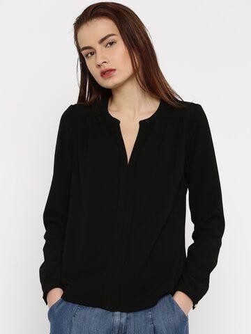 Vero Moda Women Black Solid Top at myntra