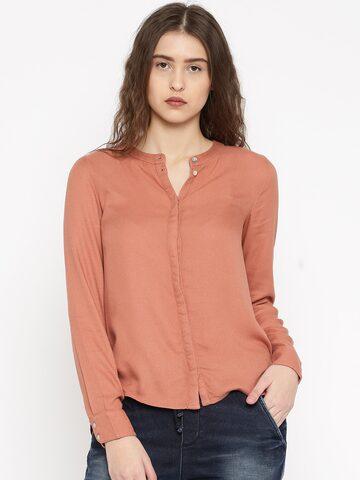 Vero Moda Women Peach-Coloured Regular Fit Solid Casual Shirt at myntra