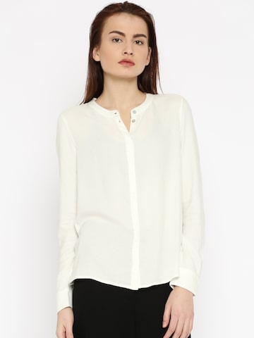 Vero Moda Women Off-White Regular Fit Solid Casual Shirt at myntra