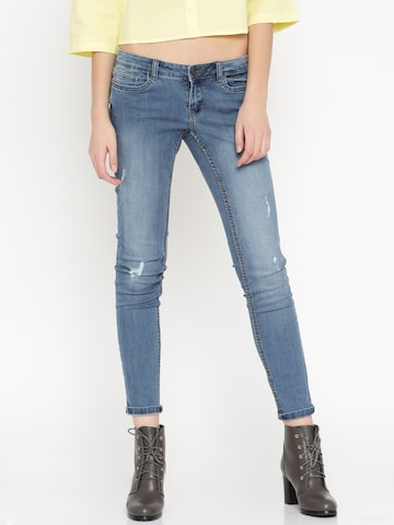 Vero Moda Women Blue Mid-Rise Low Distress Jeans at myntra
