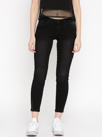 Vero Moda Women Black Mid-Rise Clean Look Jeans at myntra