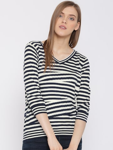 United Colors of Benetton Women White & Navy Striped Top at myntra