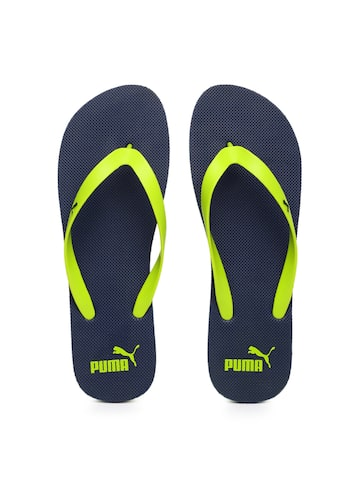 Puma Unisex Lime Green & Navy Odius Flip-Flops at myntra