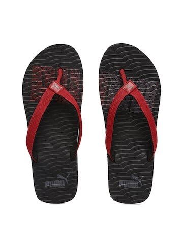 Puma Unisex Red & Black Miami Fashion Flip-Flops at myntra