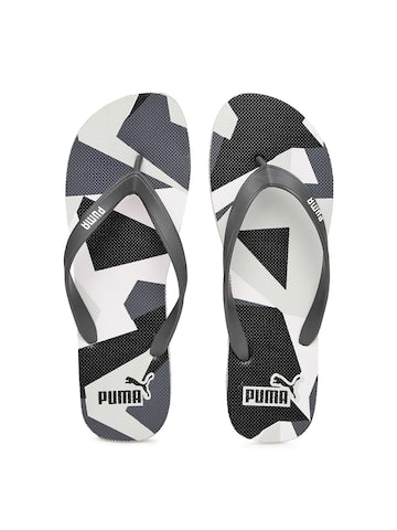 Puma Unisex Charcoal Grey & White Printed Sam Flip-Flops at myntra