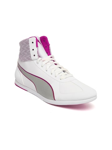 Puma Women White Solid Mid-Top Modern Soleil Mid Quill Sneakers at myntra