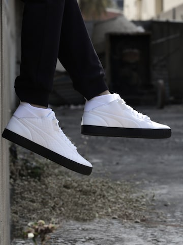 Puma Men White Solid High-Top Play B&W Leather Sneakers at myntra