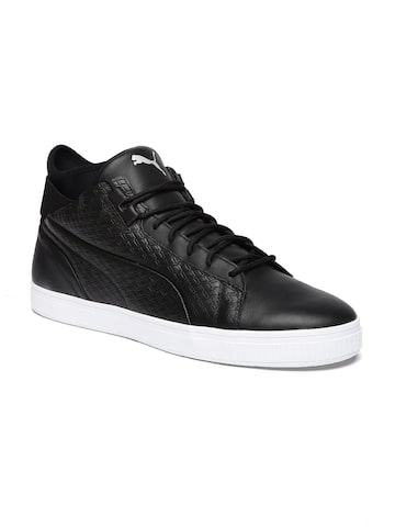 Puma Men Black Textured High-Top Play B&W Leather Sneakers at myntra