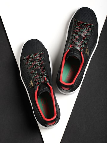 Puma Men Black Clyde GCC Patterned Leather Sneakers at myntra