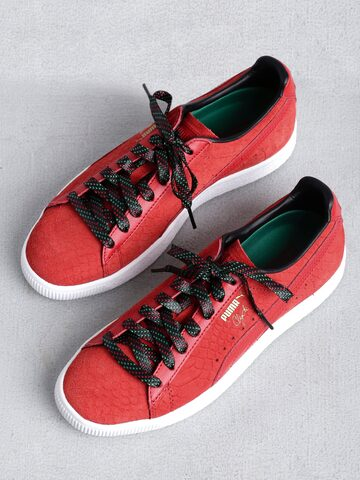Puma Men Red Clyde GCC Patterned Leather Sneakers at myntra