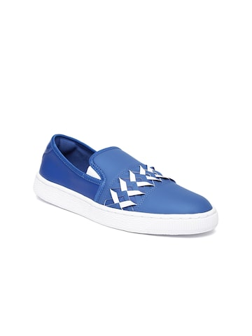 Puma Women Blue Basket Cut-Out Slip-On Sneakers at myntra