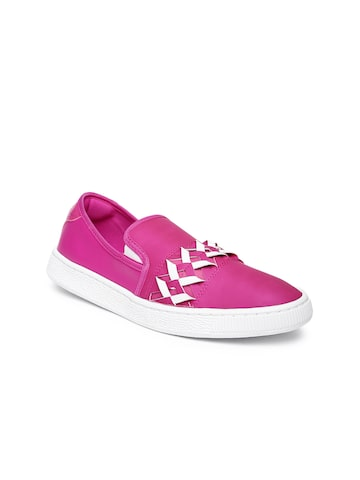 Puma Women Pink Basket Cut-Out Slip-On Sneakers at myntra