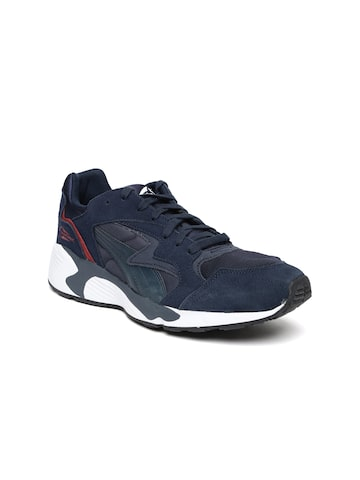 Puma Men Navy Blue Prevail Suede Sneakers at myntra