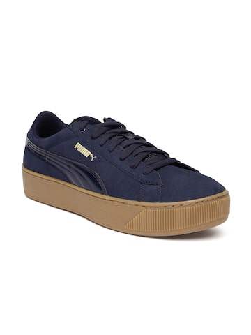 Puma Women Navy Vikky Platform Sneakers at myntra