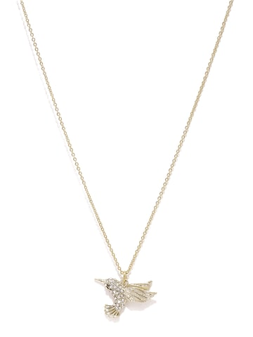 Accessorize Gold-Toned Stone-Studded Bird-Shaped Pendant with Chain at myntra