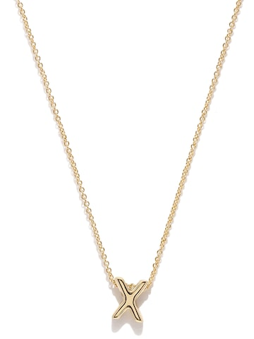 Accessorize Gold-Plated X-Shaped Pendant with Chain at myntra