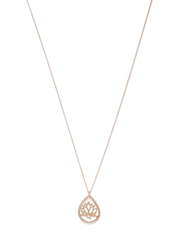Accessorize Rose Gold-Toned Stone-Studded Lotus-Shaped Pendant with Chain at myntra