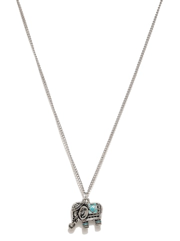 Accessorize Oxidised Silver-Toned Pendant with Chain at myntra