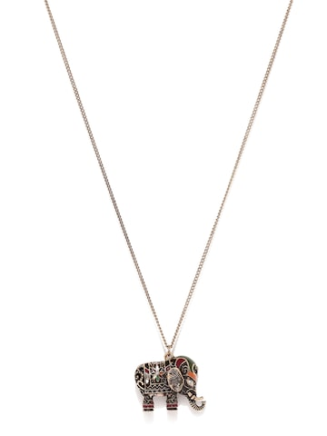 Accessorize Antique Gold-Toned Elephant-Shaped Pendant with Chain at myntra