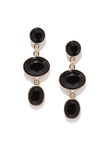 Accessorize Black & Gold-Toned Stone-Studded Drop Earrings at myntra